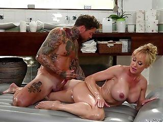 Big Tits, Blonde, Brandi Love, Couple, Cowgirl, Cum In Mouth, Cumshot, Doggystyle, Fake Tits, Handjob,