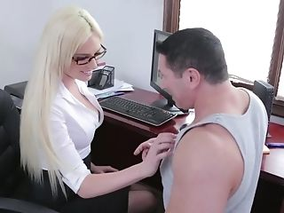 Babe, Blonde, Clothed Sex, Glasses, Licking, Lingerie, MILF, Office, Secretary, Stockings,
