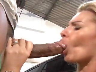 Anal Sex, Big Black Cock, Big Cock, Big Tits, Blonde, Blowjob, Car, Couple, Cum In Mouth, Cumshot,