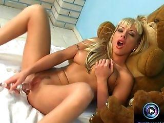 Blonde, Dildo, First Timer, Jessica Florentino, Masturbation, Solo,