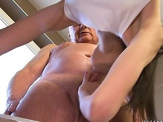 Blowjob, Brunette, Facial, Grandpa, Old And Young, Rough, Teen,