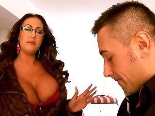 Big Tits, Blowjob, Cum On Tits, Cumshot, Doggystyle, Emma Butt, Glasses, Hardcore, High Heels, Lingerie,