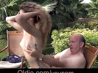 Blowjob, Curly, Doggystyle, Garden, Grandpa, Old, Old And Young, Skinny, Teen,