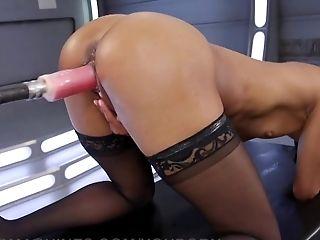 Babe, Cage, High Heels, Lingerie, Riding, Sex Toys, Small Tits, Solo, Squirting, Stockings,
