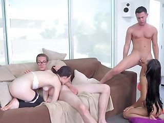Babe, Ball Licking, Blowjob, Couch, Cowgirl, Cum In Mouth, Cum Swapping, Cumshot, Dick, Dirty,