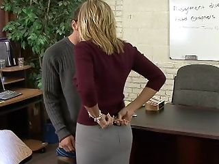 Becca Blossoms, Blonde, College, Desk, From Behind, Legs, Licking, Spreading, Striptease,
