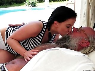 Babe, Blowjob, Bold, Brunette, Clamp, Couple, Cum, Cumshot, Fingering, Grandpa,