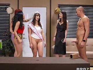 Ass, Babe, Big Tits, Brunette, Cute, Fake Tits, Group Sex, Hardcore, HD, Makeup,