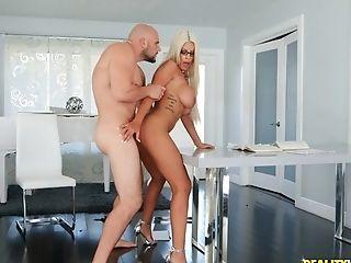 Blonde, Blowjob, Bridgette B, Couple, Cowgirl, Doggystyle, Fake Tits, Glasses, Hardcore, High Heels,