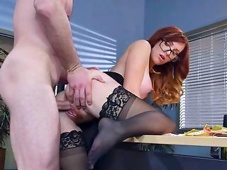 Blowjob, Cum On Tits, Cumshot, Dani Jensen, Desk, Glasses, Hardcore, HD, MILF, Office,