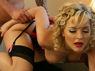 Alexis Texas, Blonde, Cumshot, Curly, Desk, Facial, From Behind, Lingerie, Natural Tits, Stockings,