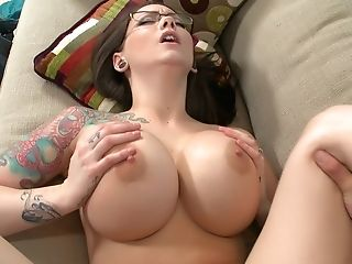 Big Tits, Boss, Brunette, Couch, Cumshot, Glasses, Hardcore, MILF, Office, Tattoo,